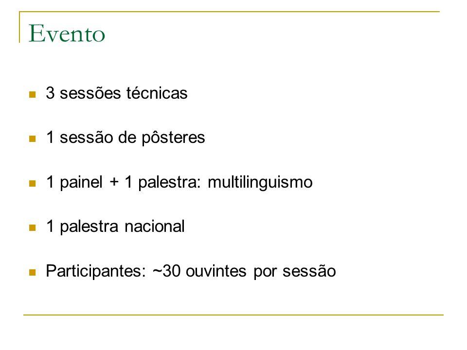 Evento 3 sessões técnicas 1 sessão de pôsteres 1 painel + 1 palestra: multilinguismo 1 palestra nacional Participantes: ~30 ouvintes por sessão