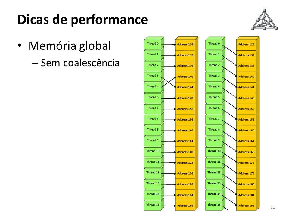 Dicas de performance 11 Memória global – Sem coalescência