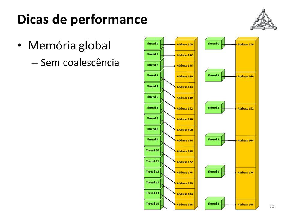 Dicas de performance 12 Memória global – Sem coalescência