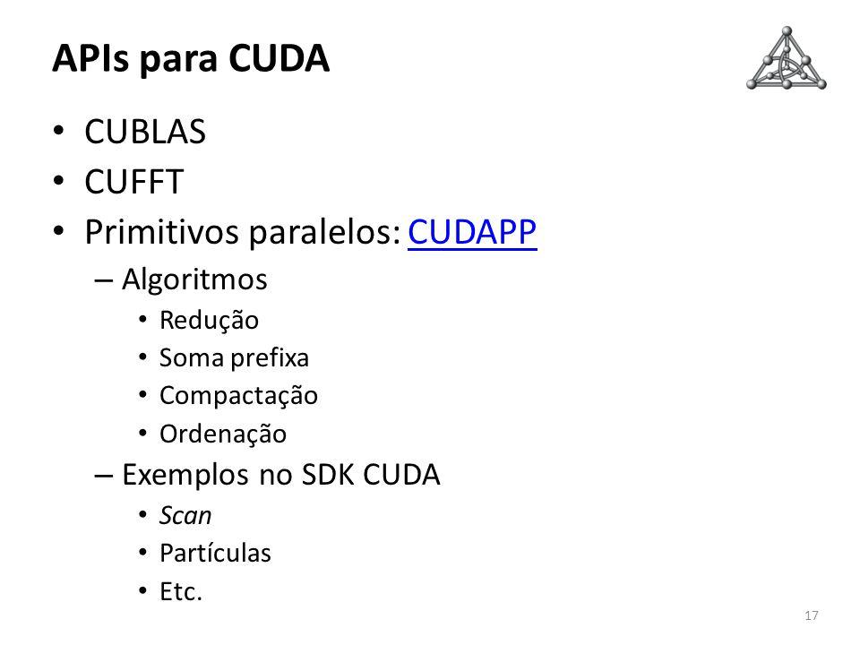 APIs para CUDA CUBLAS CUFFT Primitivos paralelos: CUDAPPCUDAPP – Algoritmos Redução Soma prefixa Compactação Ordenação – Exemplos no SDK CUDA Scan Par