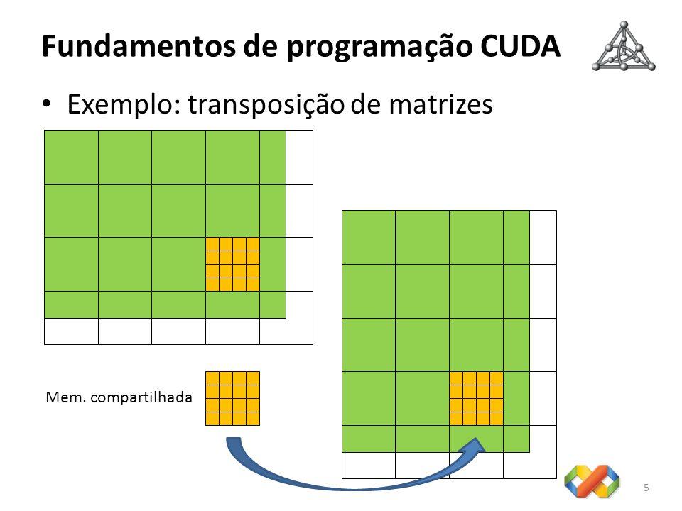 Fundamentos de programação CUDA 6 Implementação em hardware – Arquitetura: arranjo de multiprocessadores (SMs) – Cada SM consiste de: 8 processadores (SPs) 1 unidade de instrução Memória compartilhada – Cada SM: Executa threads de um bloco em grupos de 32: warp Implementa barreira de sincronização: __ syncthreads() Emprega arquitetura SIMT: Single Instruction Multiple Thread