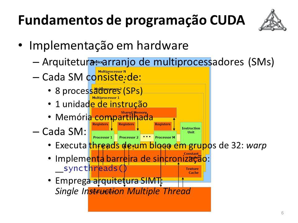 Fundamentos de programação CUDA 6 Implementação em hardware – Arquitetura: arranjo de multiprocessadores (SMs) – Cada SM consiste de: 8 processadores