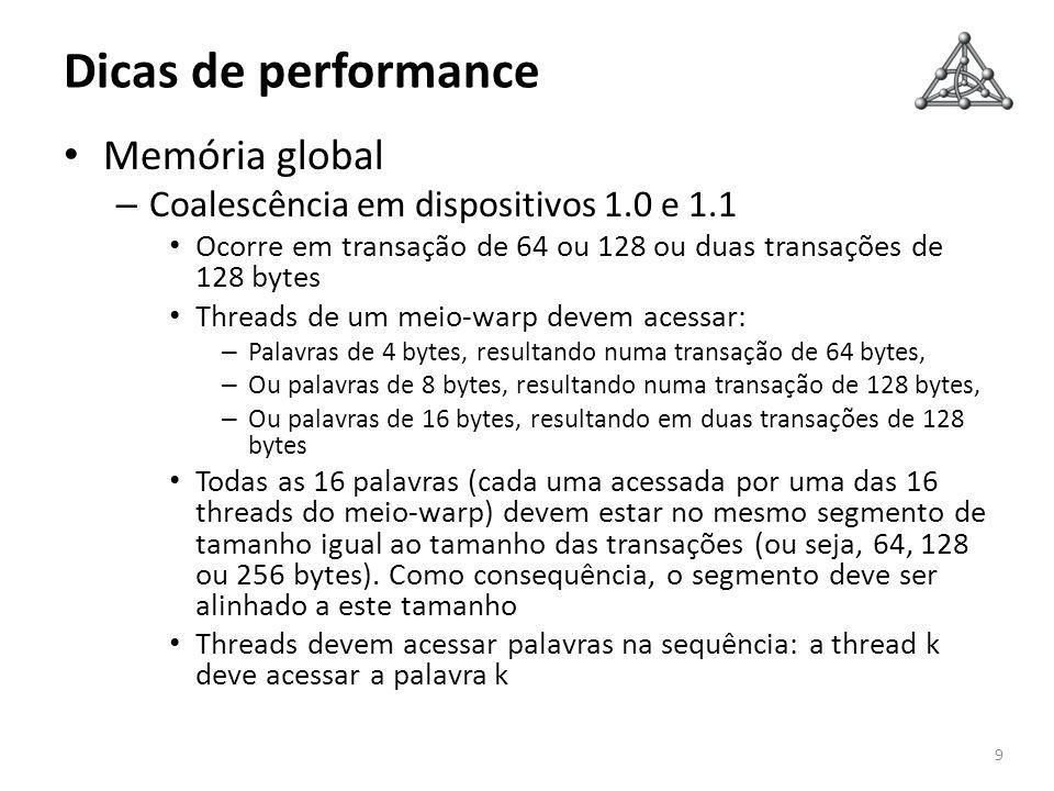 Dicas de performance 9 Memória global – Coalescência em dispositivos 1.0 e 1.1 Ocorre em transação de 64 ou 128 ou duas transações de 128 bytes Thread