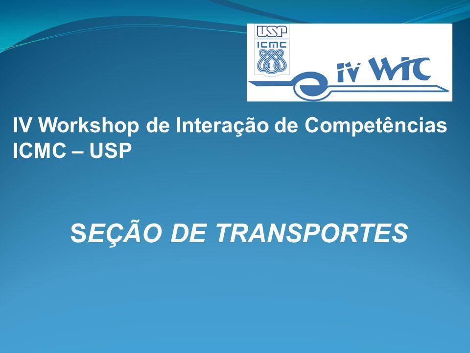 IV Workshop de Interação de Competências ICMC – USP SEÇÃO DE TRANSPORTES