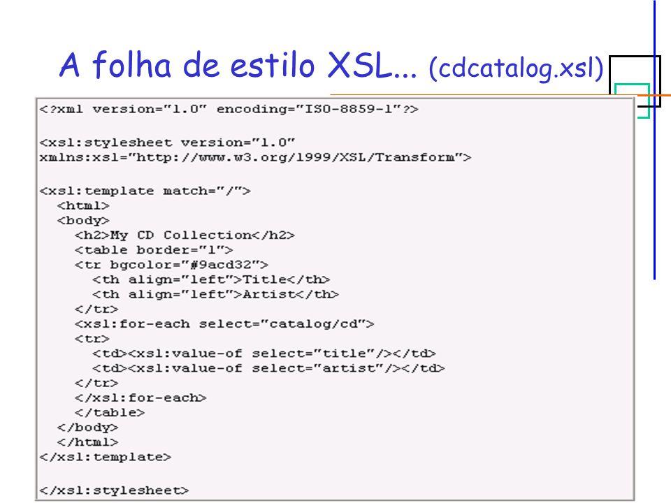 A folha de estilo XSL... (cdcatalog.xsl)