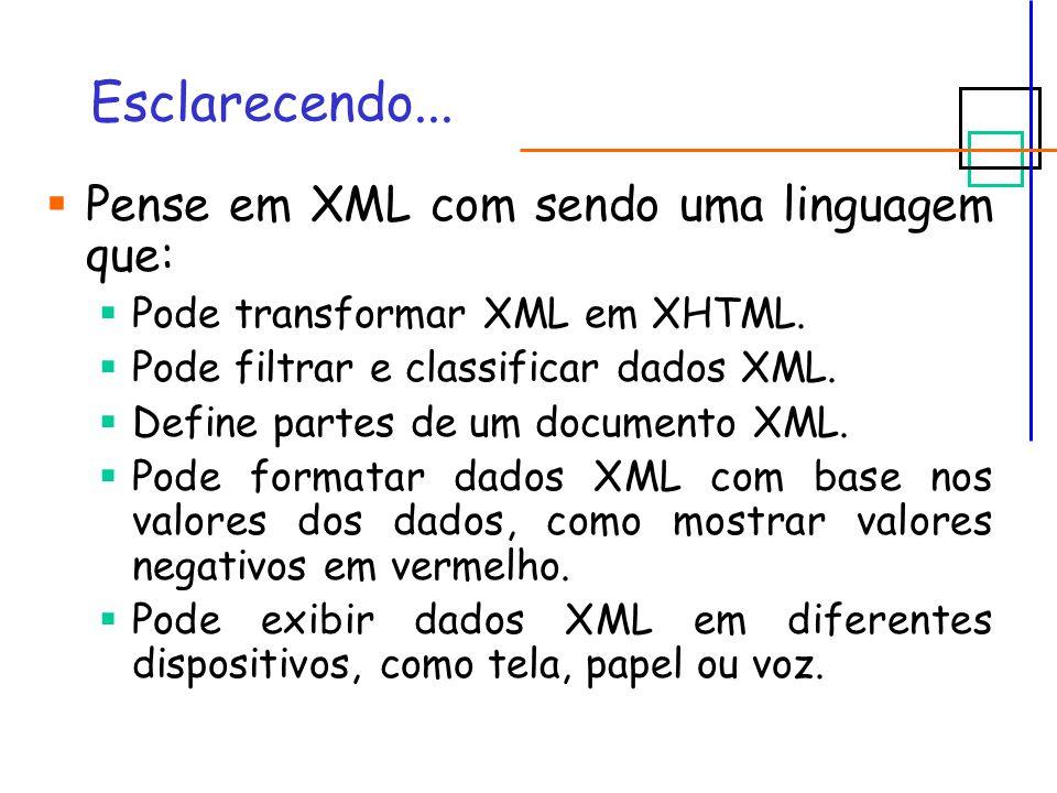 XSLT e XPath XSLT será utilizada para definir as transformações XML.