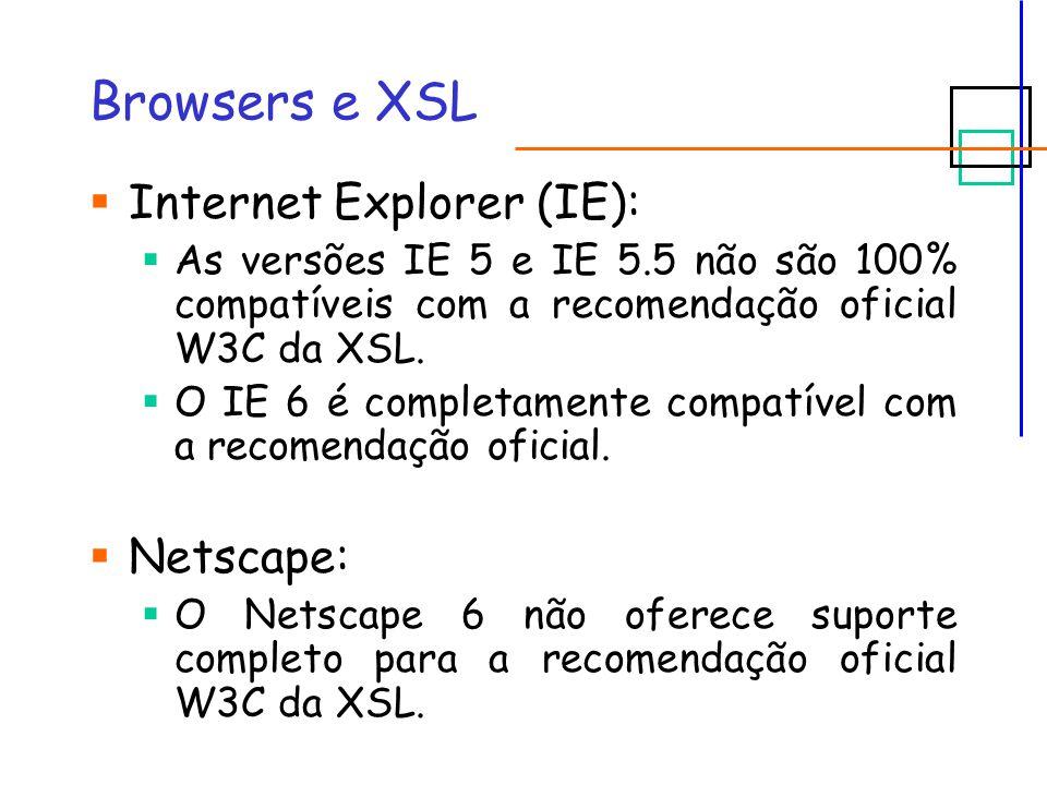 Browsers e XSL Internet Explorer (IE): As versões IE 5 e IE 5.5 não são 100% compatíveis com a recomendação oficial W3C da XSL.