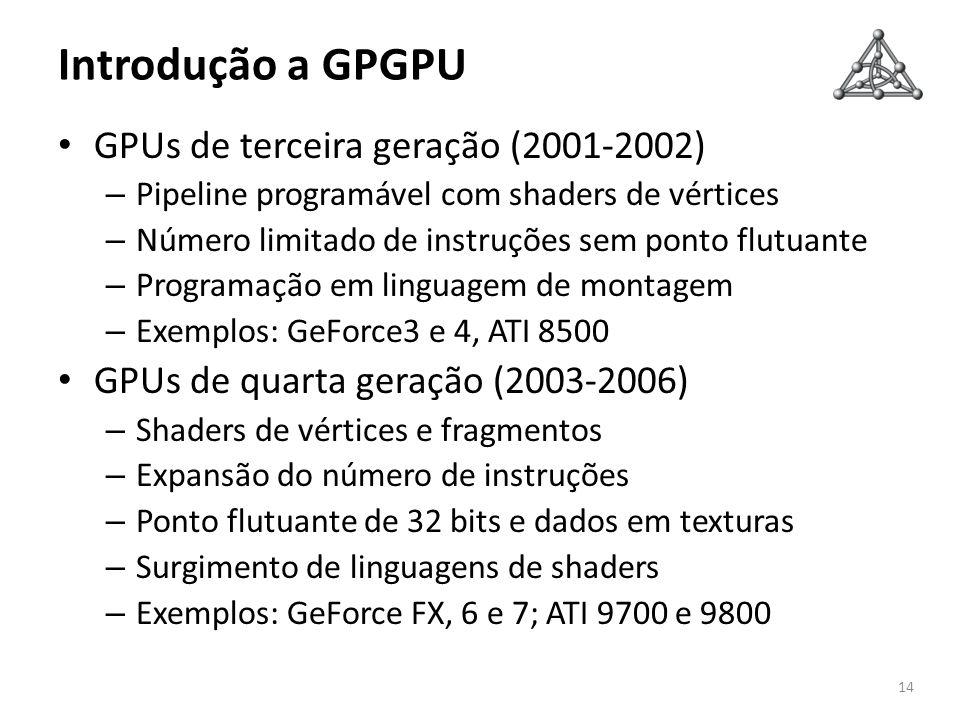 Introdução a GPGPU GPUs de terceira geração (2001-2002) – Pipeline programável com shaders de vértices – Número limitado de instruções sem ponto flutu