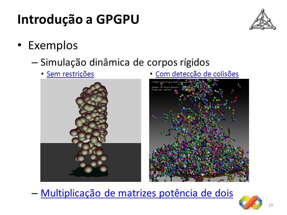 Introdução a GPGPU Exemplos – Simulação dinâmica de corpos rígidos – Multiplicação de matrizes potência de dois Multiplicação de matrizes potência de