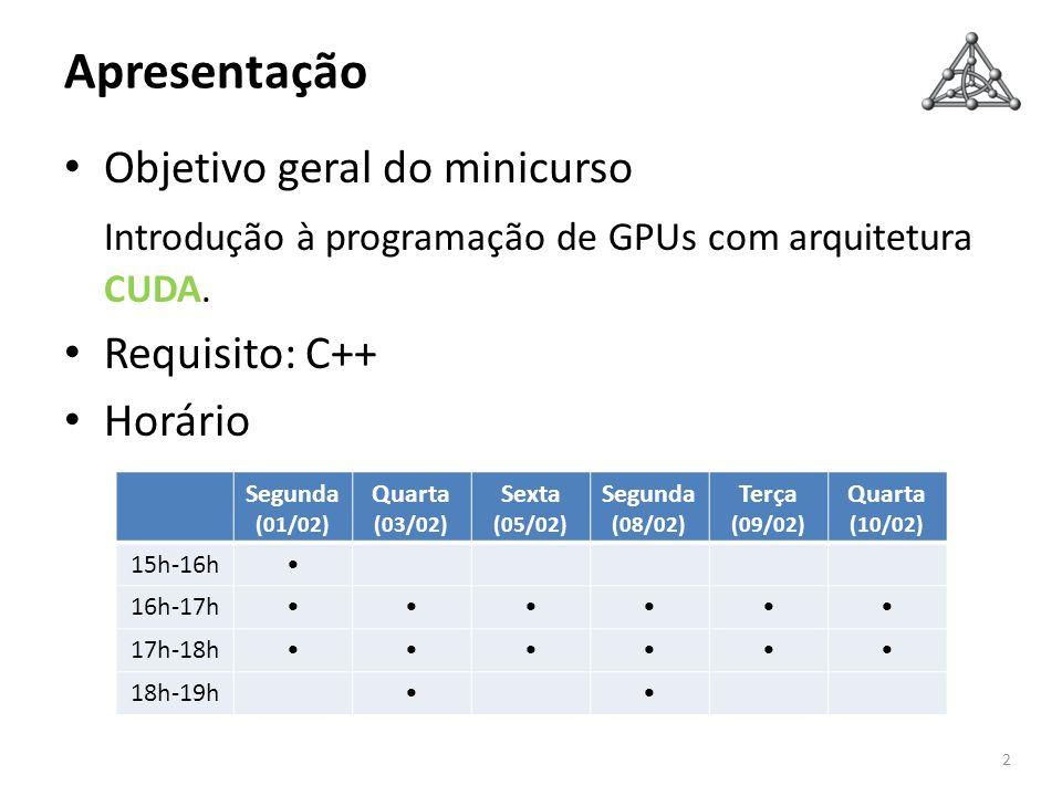 Apresentação Objetivo geral do minicurso Introdução à programação de GPUs com arquitetura CUDA. Requisito: C++ Horário 2 Segunda (01/02) Quarta (03/02