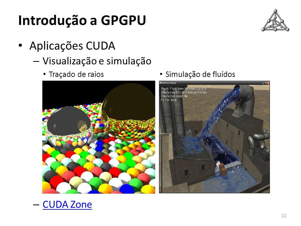 Introdução a GPGPU Aplicações CUDA – Visualização e simulação – CUDA Zone CUDA Zone 22 Traçado de raios Simulação de fluídos