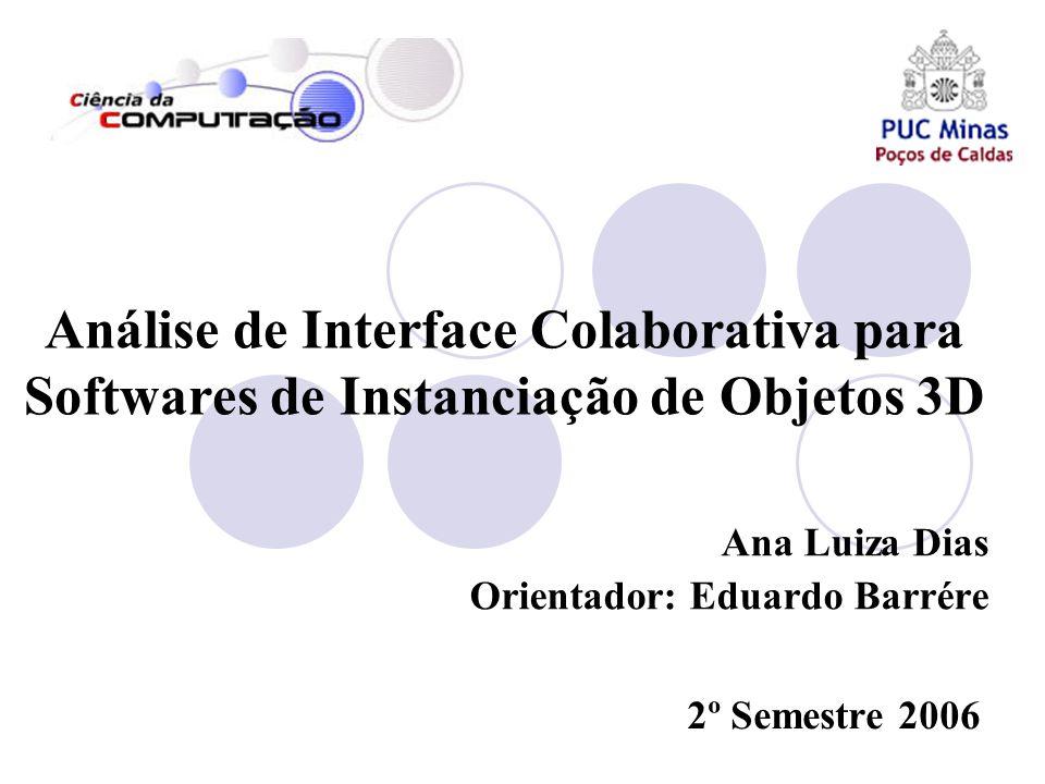 Análise de Interface Colaborativa para Softwares de Instanciação de Objetos 3D Ana Luiza Dias Orientador: Eduardo Barrére 2º Semestre 2006