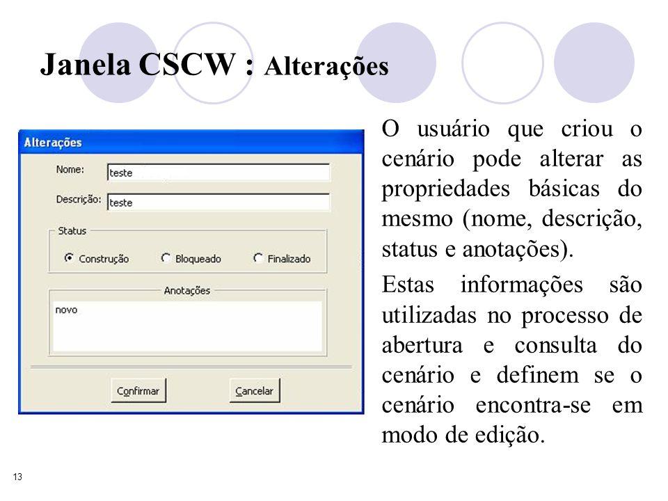 13 Janela CSCW : Alterações O usuário que criou o cenário pode alterar as propriedades básicas do mesmo (nome, descrição, status e anotações).