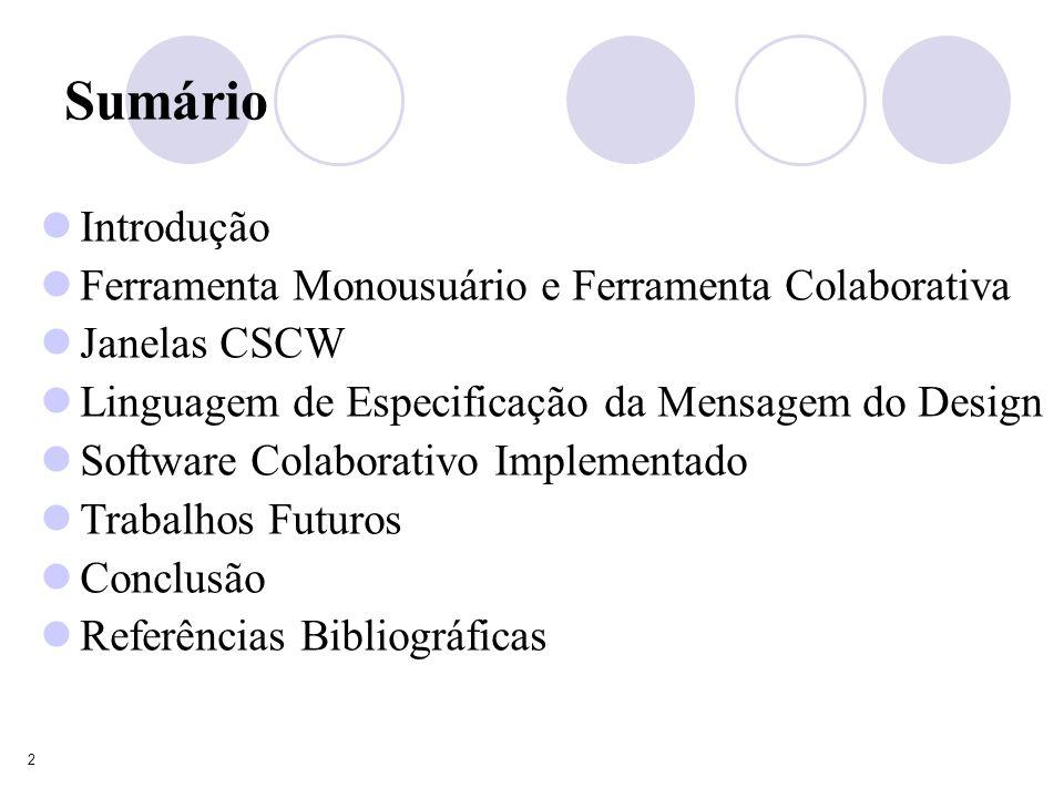 2 Introdução Ferramenta Monousuário e Ferramenta Colaborativa Janelas CSCW Linguagem de Especificação da Mensagem do Design Software Colaborativo Implementado Trabalhos Futuros Conclusão Referências Bibliográficas Sumário