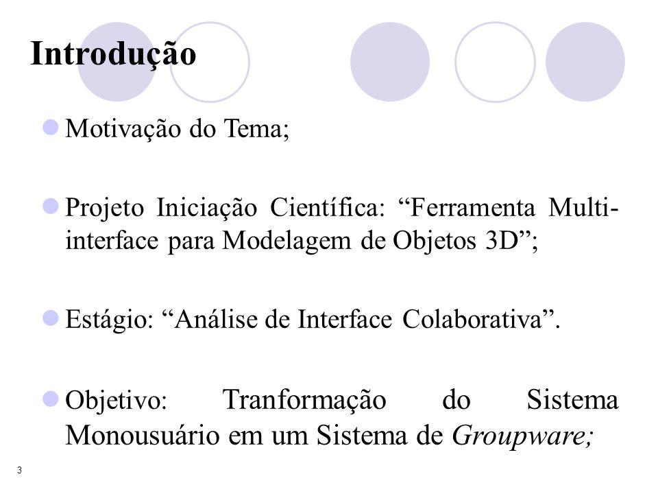 3 Introdução Motivação do Tema; Projeto Iniciação Científica: Ferramenta Multi- interface para Modelagem de Objetos 3D; Estágio: Análise de Interface Colaborativa.