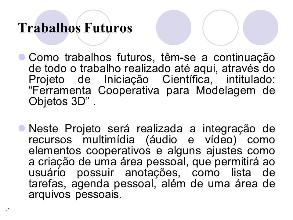 31 Trabalhos Futuros Como trabalhos futuros, têm-se a continuação de todo o trabalho realizado até aqui, através do Projeto de Iniciação Científica, intitulado: Ferramenta Cooperativa para Modelagem de Objetos 3D.