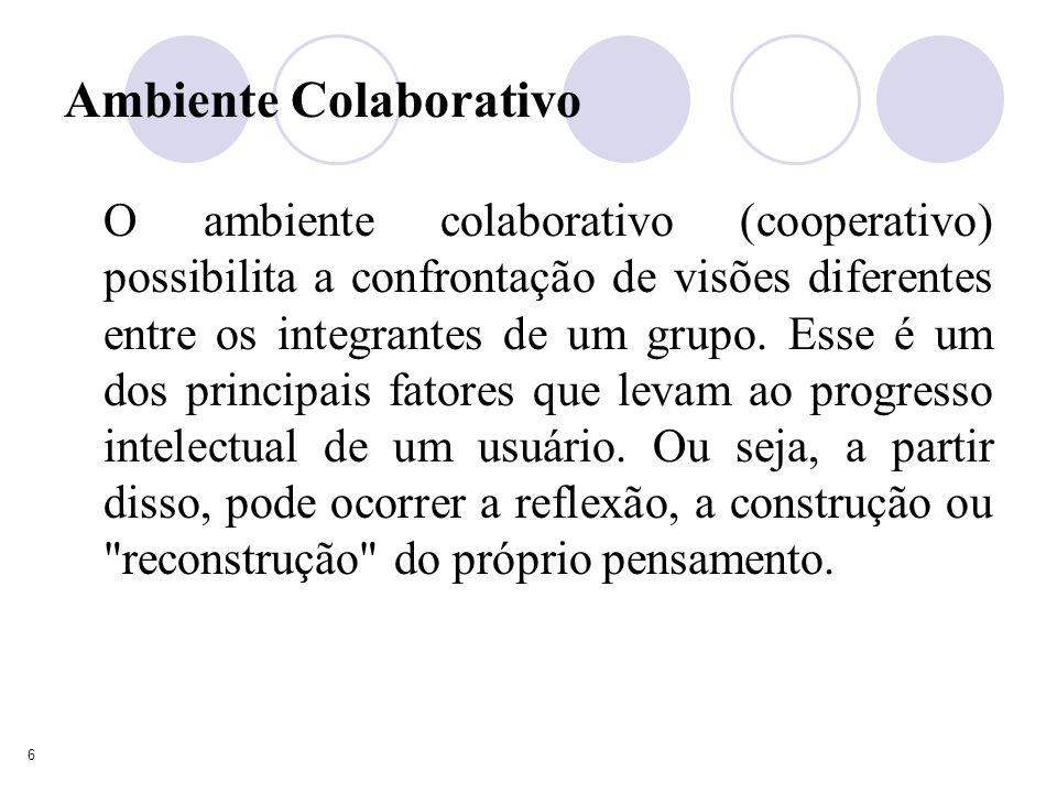 6 Ambiente Colaborativo O ambiente colaborativo (cooperativo) possibilita a confrontação de visões diferentes entre os integrantes de um grupo.
