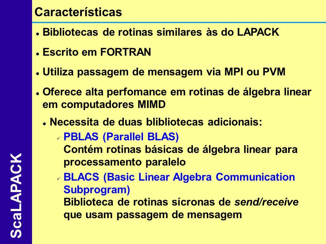 Bibliotecas de rotinas similares às do LAPACK Escrito em FORTRAN Utiliza passagem de mensagem via MPI ou PVM Oferece alta perfomance em rotinas de álg