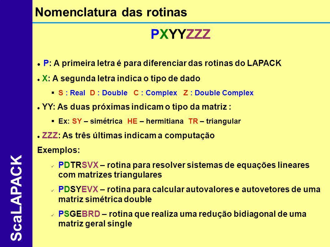 PXYYZZZ P: A primeira letra é para diferenciar das rotinas do LAPACK X: A segunda letra indica o tipo de dado S : Real D : Double C : Complex Z : Doub