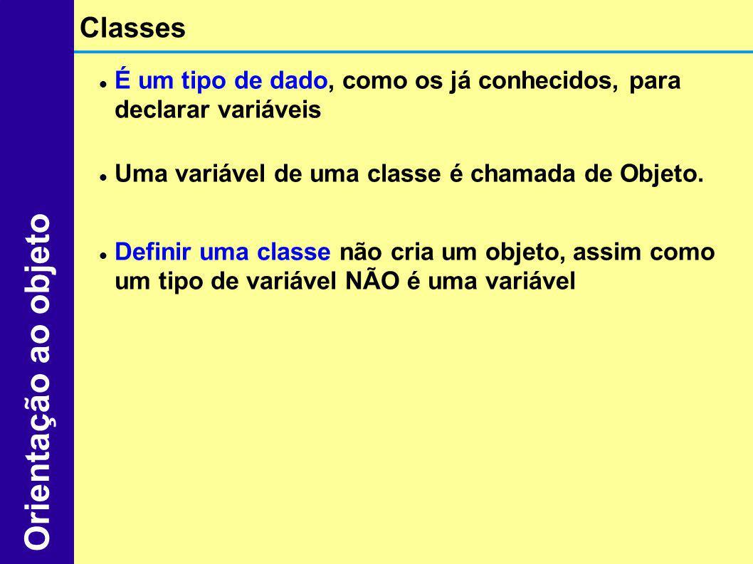 É um tipo de dado, como os já conhecidos, para declarar variáveis Uma variável de uma classe é chamada de Objeto. Definir uma classe não cria um objet