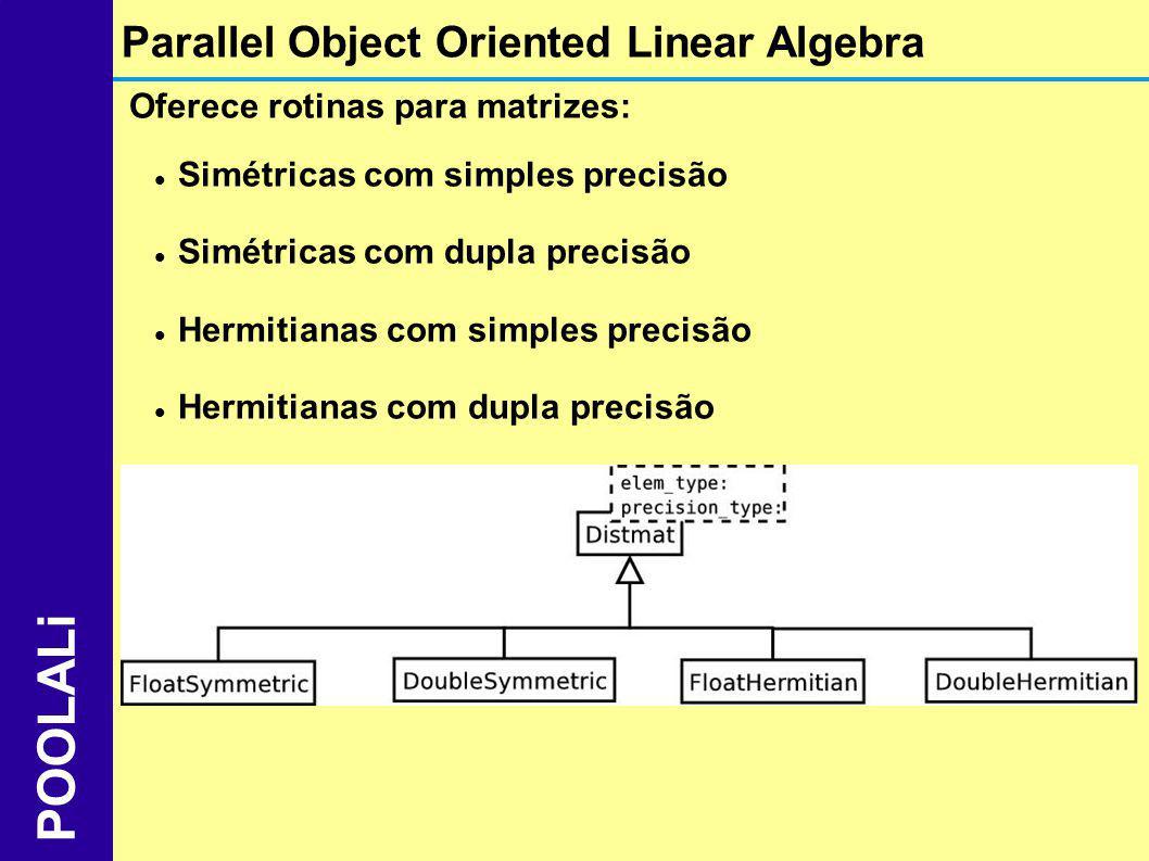 Oferece rotinas para matrizes: Simétricas com simples precisão Simétricas com dupla precisão Hermitianas com simples precisão Hermitianas com dupla pr