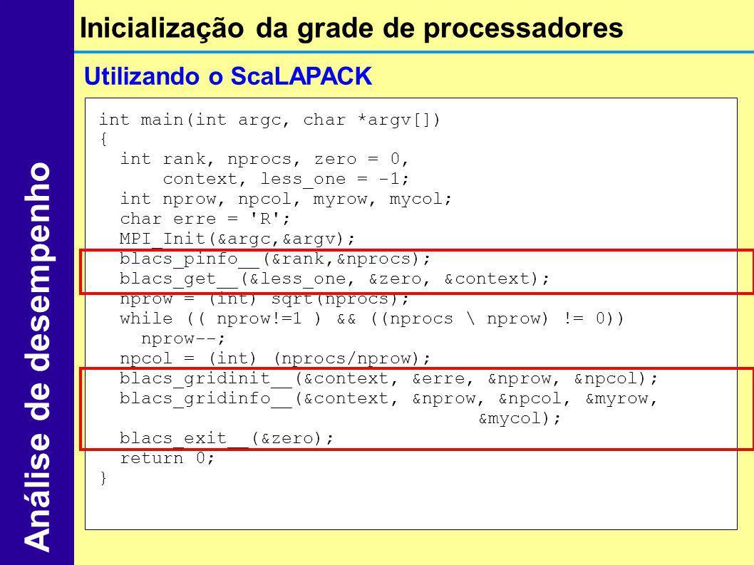 Utilizando o ScaLAPACK Inicialização da grade de processadores Análise de desempenho int main(int argc, char *argv[]) { int rank, nprocs, zero = 0, co