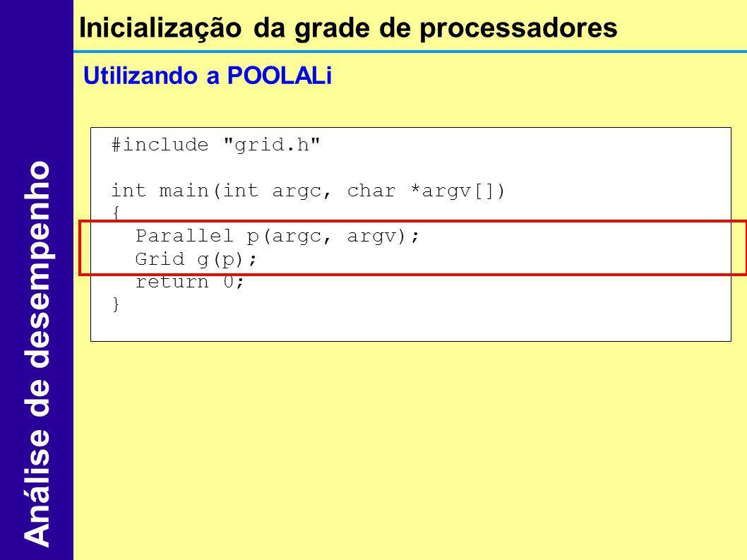 Inicialização da grade de processadores Análise de desempenho Utilizando a POOLALi #include