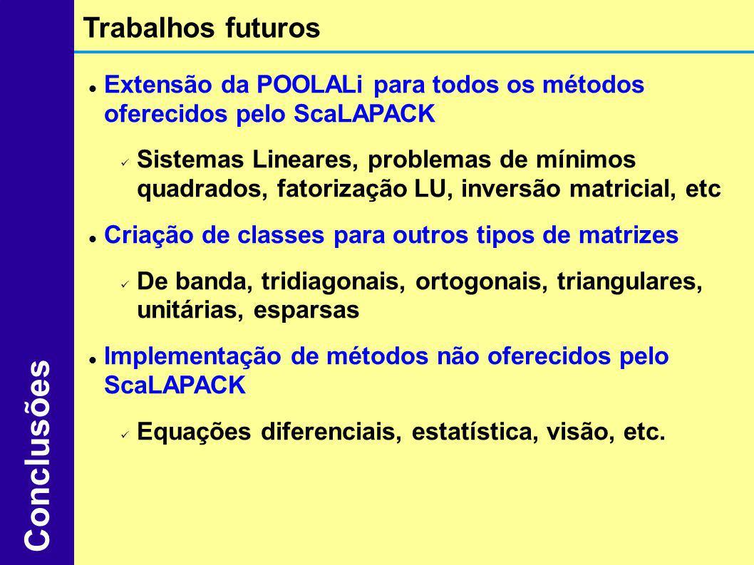 Extensão da POOLALi para todos os métodos oferecidos pelo ScaLAPACK Sistemas Lineares, problemas de mínimos quadrados, fatorização LU, inversão matric