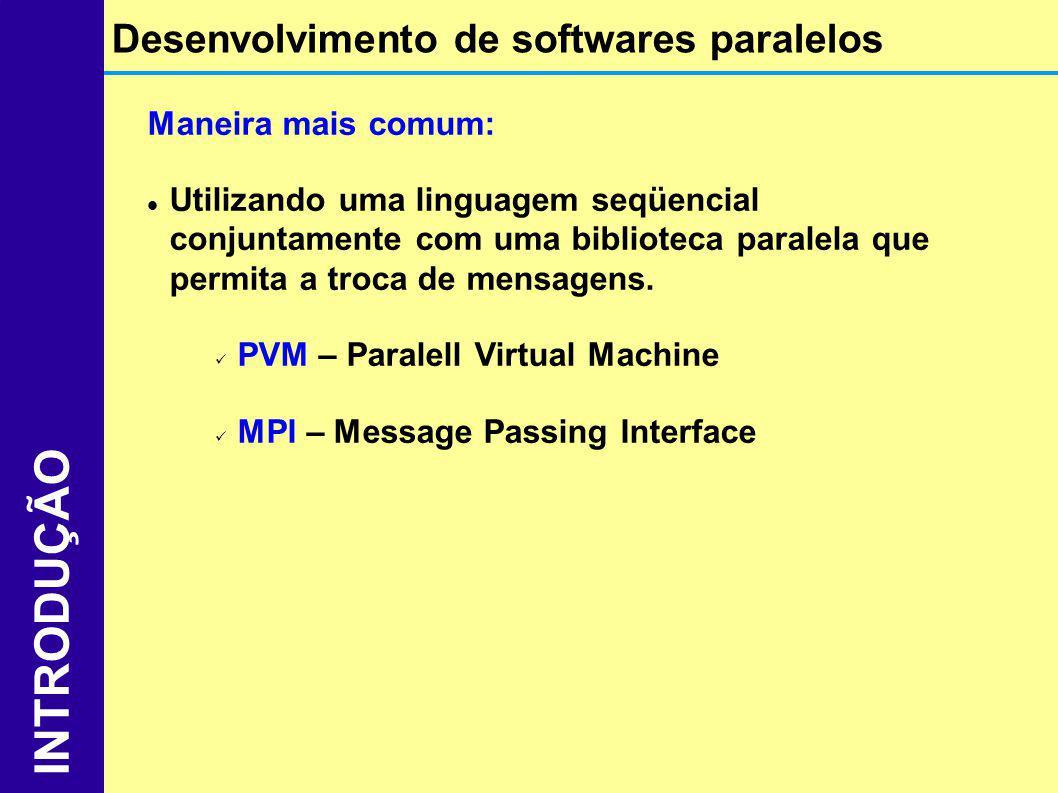 Maneira mais comum: Utilizando uma linguagem seqüencial conjuntamente com uma biblioteca paralela que permita a troca de mensagens. PVM – Paralell Vir