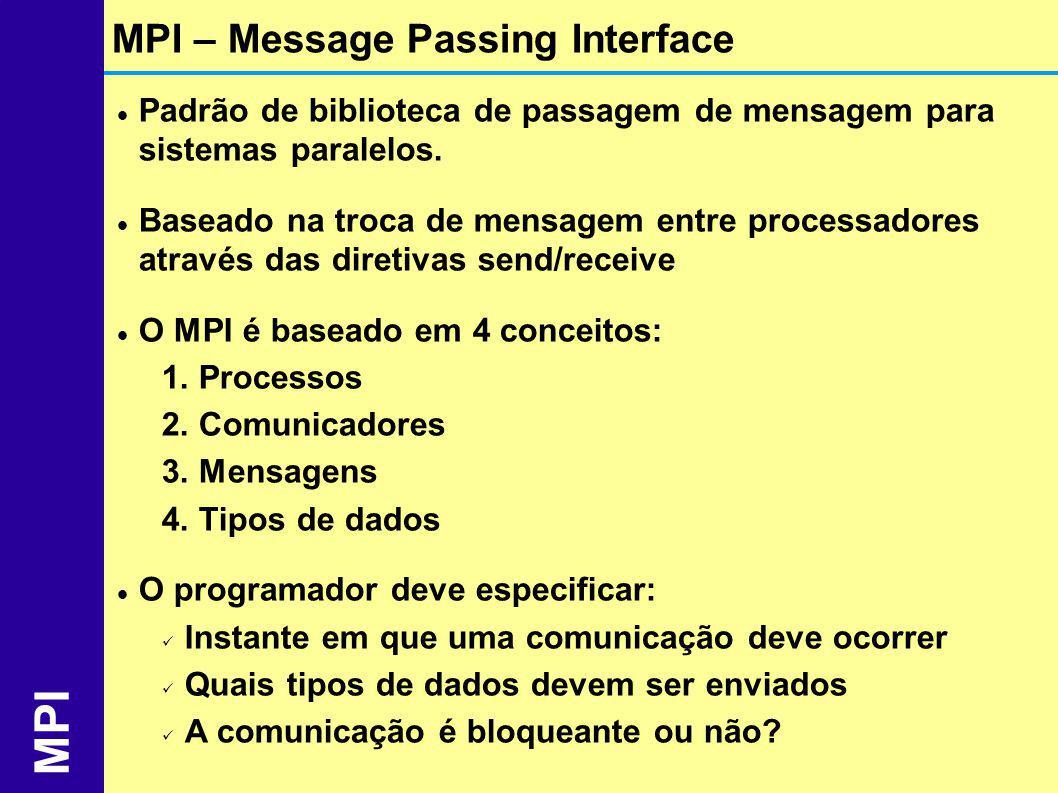 Padrão de biblioteca de passagem de mensagem para sistemas paralelos. Baseado na troca de mensagem entre processadores através das diretivas send/rece