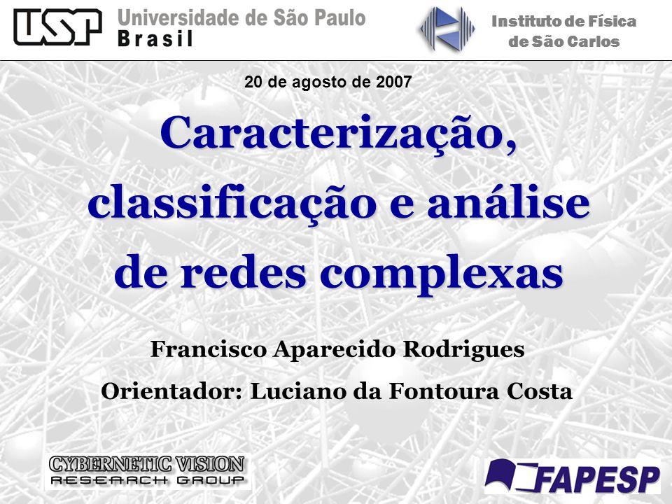 20 de agosto de 2007 Instituto de Física de São Carlos Francisco Aparecido Rodrigues Orientador: Luciano da Fontoura Costa Caracterização, classificaç