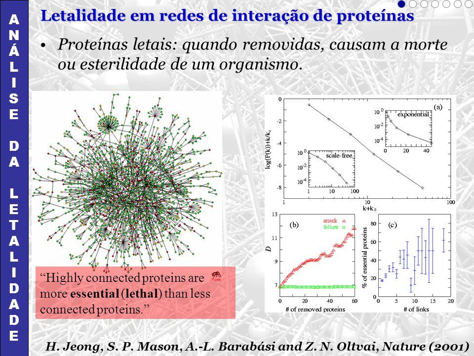 Proteínas letais: quando removidas, causam a morte ou esterilidade de um organismo. H. Jeong, S. P. Mason, A.-L. Barabási and Z. N. Oltvai, Nature (20