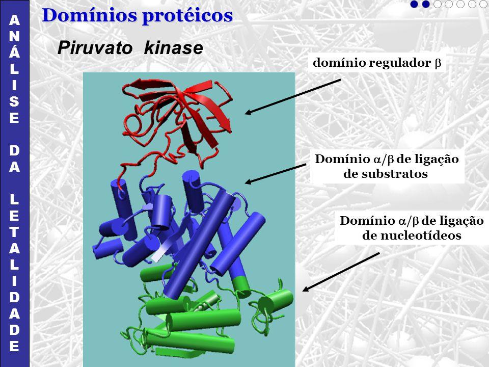 ANÁLISEDALETALIDADEANÁLISEDALETALIDADE Domínios protéicos Piruvato kinase domínio regulador Domínio / de ligação de substratos Domínio / de ligação de