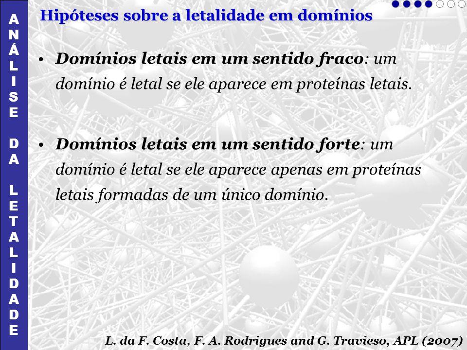 Domínios letais em um sentido fraco: um domínio é letal se ele aparece em proteínas letais. Domínios letais em um sentido forte: um domínio é letal se