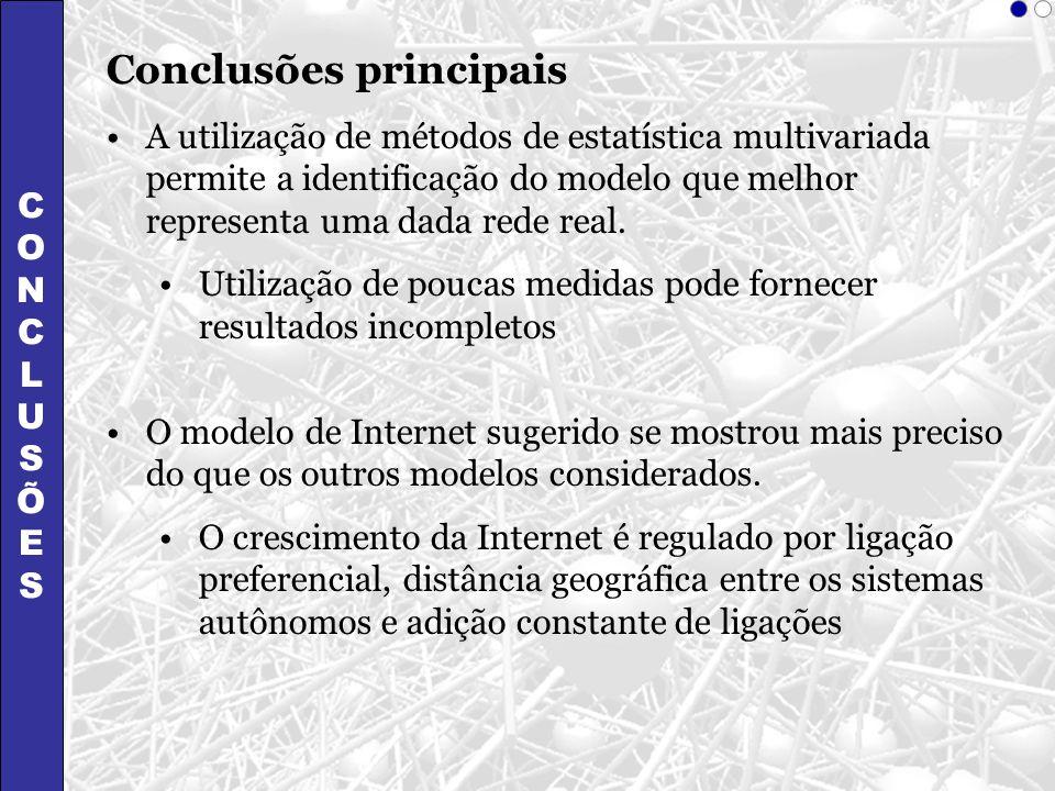 CONCLUSÕESCONCLUSÕES Conclusões principais A utilização de métodos de estatística multivariada permite a identificação do modelo que melhor representa