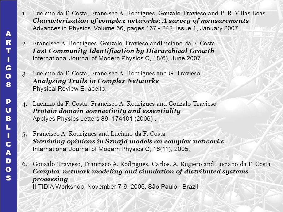 ARTIGOSPUBLICADOSARTIGOSPUBLICADOS 1.Luciano da F. Costa, Francisco A. Rodrigues, Gonzalo Travieso and P. R. Villas Boas Characterization of complex n