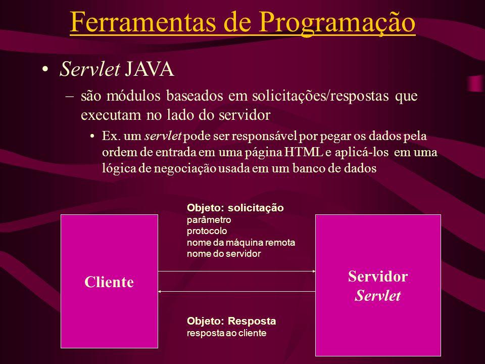 Ferramentas de Programação Servlet JAVA –são módulos baseados em solicitações/respostas que executam no lado do servidor Ex. um servlet pode ser respo