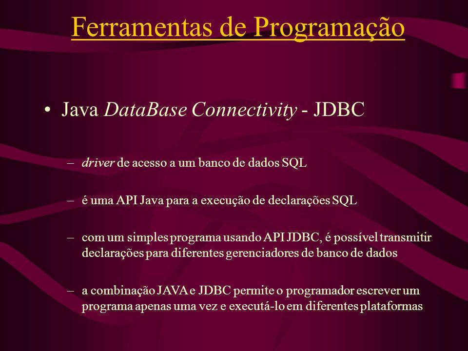 Ferramentas de Programação Java DataBase Connectivity - JDBC –driver de acesso a um banco de dados SQL –é uma API Java para a execução de declarações