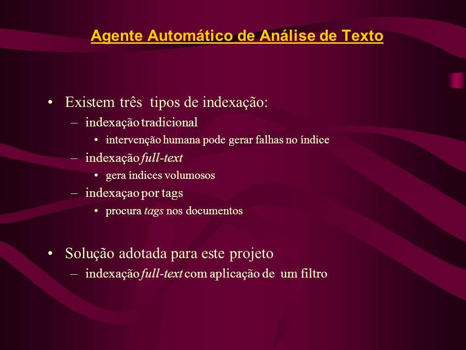Agente Automático de Análise de Texto Existem três tipos de indexação: –indexação tradicional intervenção humana pode gerar falhas no índice –indexaçã