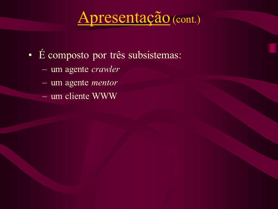 É composto por três subsistemas: –um agente crawler –um agente mentor –um cliente WWW Apresentação (cont.)