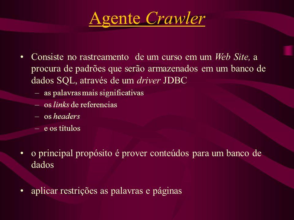 Agente Crawler Consiste no rastreamento de um curso em um Web Site, a procura de padrões que serão armazenados em um banco de dados SQL, através de um