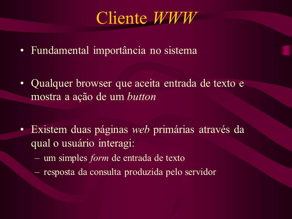 Cliente WWW Fundamental importância no sistema Qualquer browser que aceita entrada de texto e mostra a ação de um button Existem duas páginas web prim