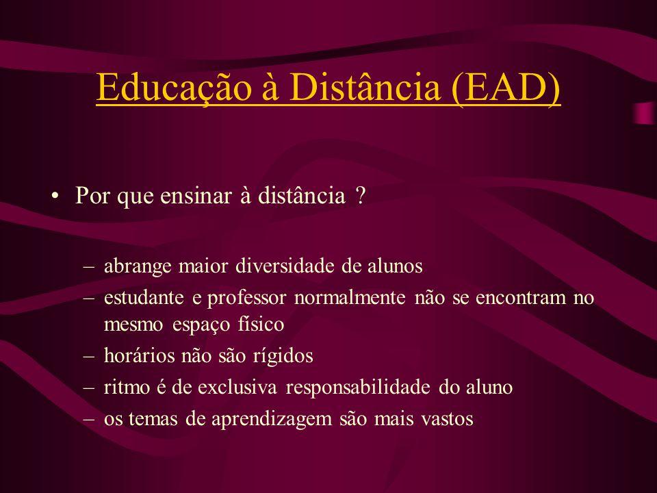 Educação à Distância (EAD) Por que ensinar à distância ? –abrange maior diversidade de alunos –estudante e professor normalmente não se encontram no m