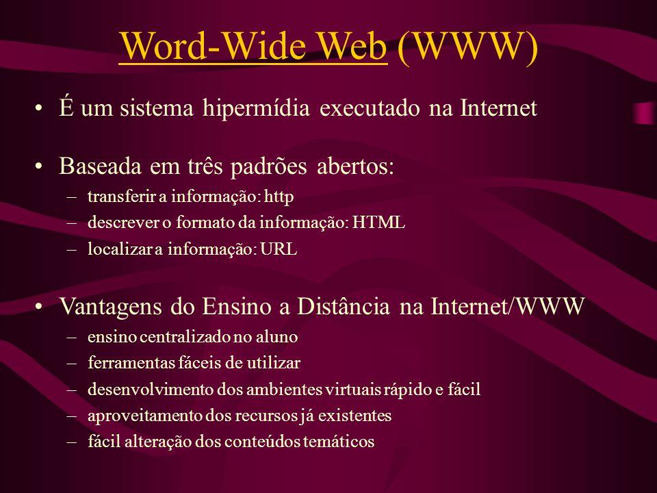 Word-Wide Web (WWW) É um sistema hipermídia executado na Internet Baseada em três padrões abertos: –transferir a informação: http –descrever o formato