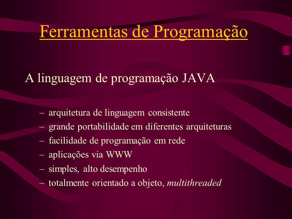 Ferramentas de Programação A linguagem de programação JAVA –arquitetura de linguagem consistente –grande portabilidade em diferentes arquiteturas –fac