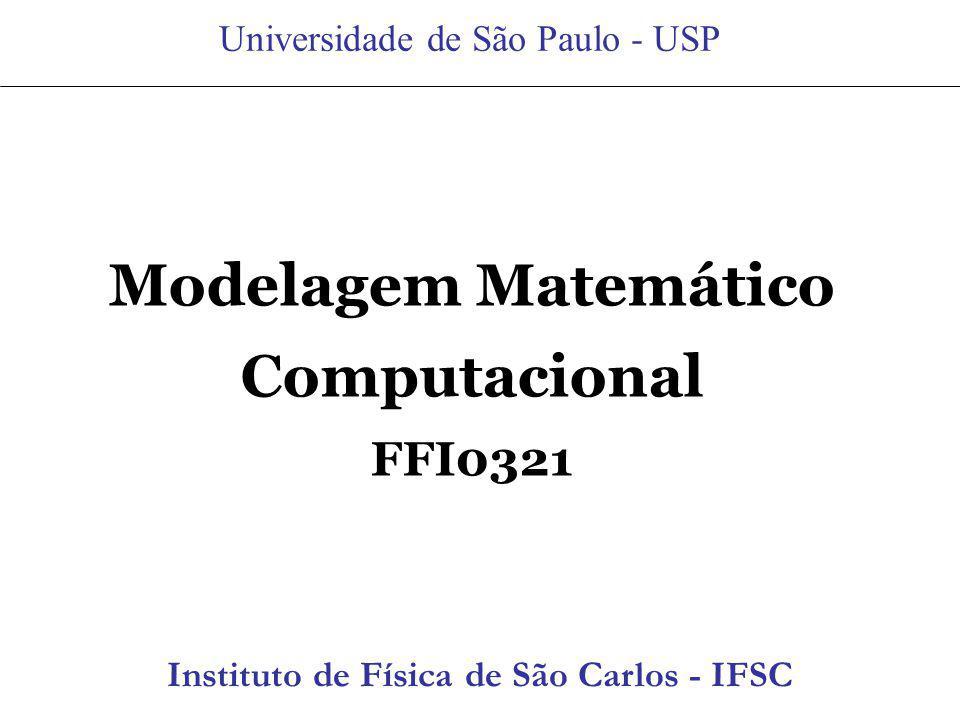 Modelagem Matemático Computacional FFI0321 Universidade de São Paulo - USP Instituto de Física de São Carlos Instituto de Física de São Carlos - IFSC