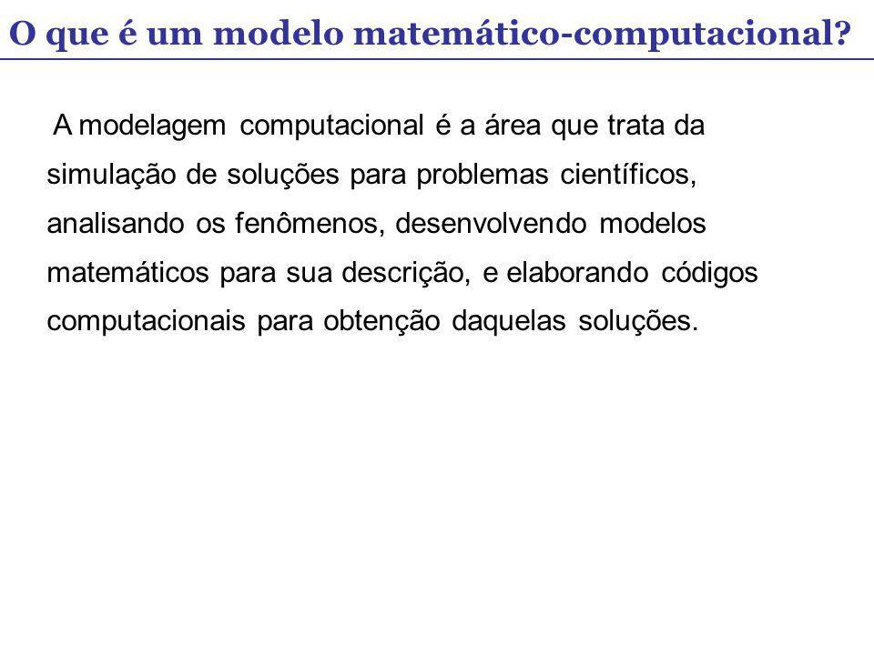 O que é um modelo matemático-computacional? A modelagem computacional é a área que trata da simulação de soluções para problemas científicos, analisan