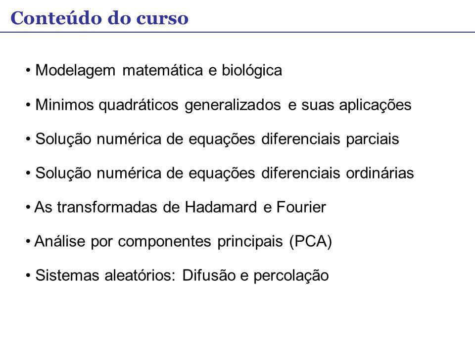 Modelagem matemática e biológica Minimos quadráticos generalizados e suas aplicações Solução numérica de equações diferenciais parciais Solução numéri