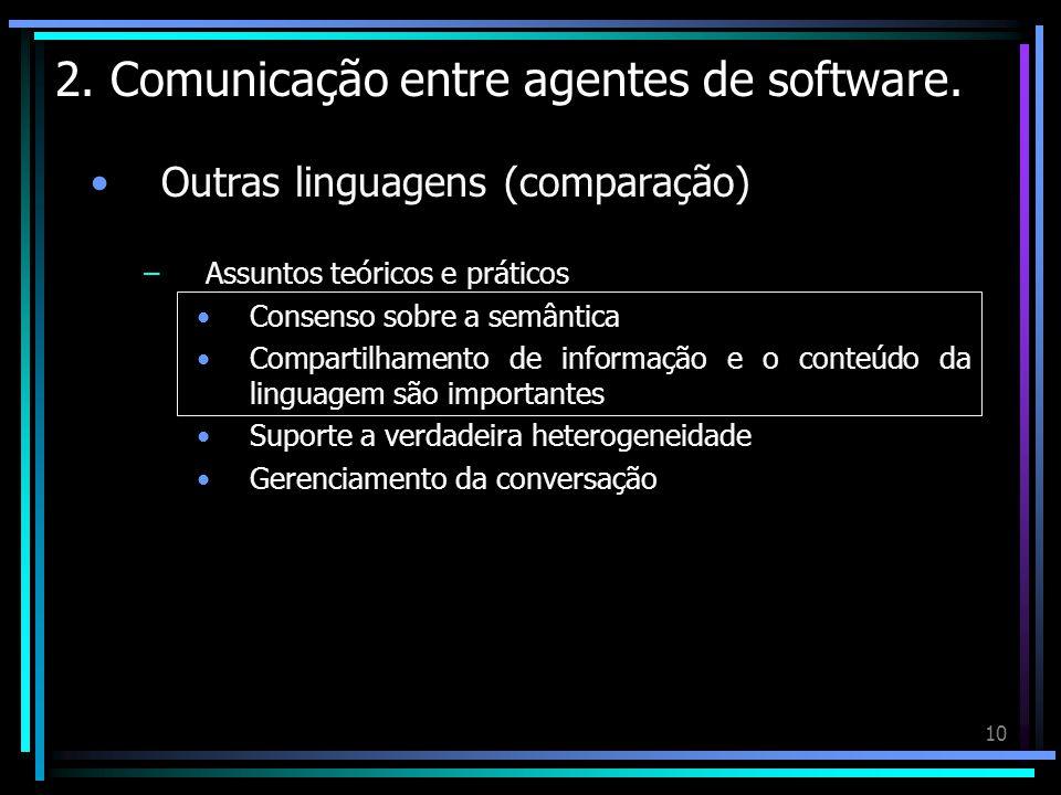 10 2. Comunicação entre agentes de software. Outras linguagens (comparação) –Assuntos teóricos e práticos Consenso sobre a semântica Compartilhamento