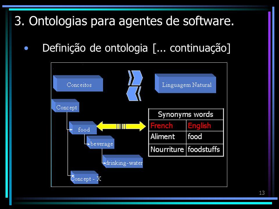 13 3. Ontologias para agentes de software. Definição de ontologia [... continuação]